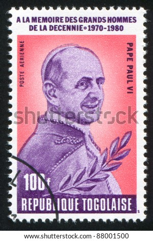 TOGO - CIRCA 1980: stamp printed by Togo, shows Pope Paul VI, circa 1980.