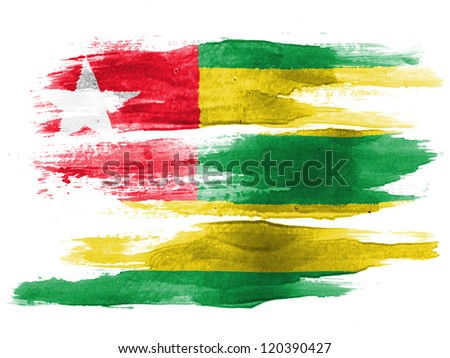 Togo flag painted on white paper with watercolor