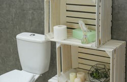 Toilet bowl and decor elements near grey wall. Bathroom interior