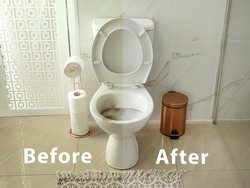 Toilet bowl before and after cleaning in bathroom