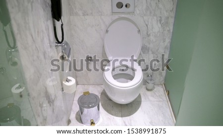 Toilet bowl in the toilet. Toilet in the toilet, view from the top #1538991875