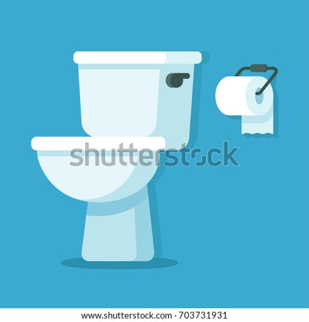 Toilet bowl with toilet paper roll. Simple flat cartoon illustration.