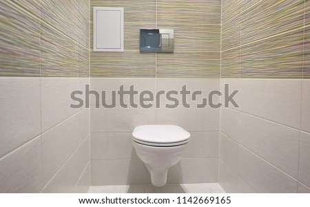 Toilet design with built-in toilet. Built-in toilet is made as an installation, all the elements, except for the toilet are hidden behind the tiles in the wall. #1142669165