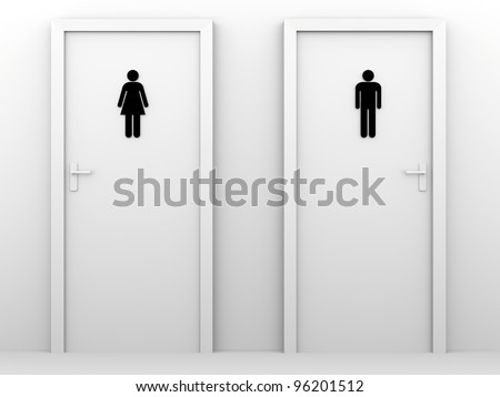 toilet doors for male and female genders. - stock photo