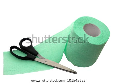 toilet paper and scissors on white background
