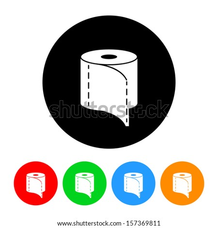 Toilet Paper Icon with Color Variations.  Raster version.