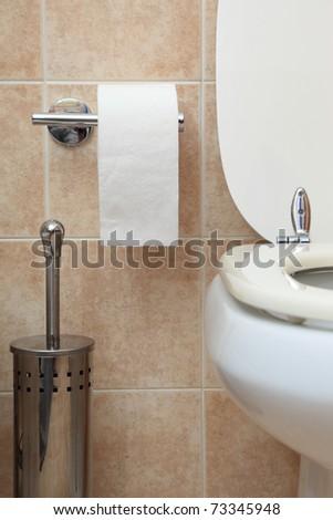 toilet paper in modern bathroom