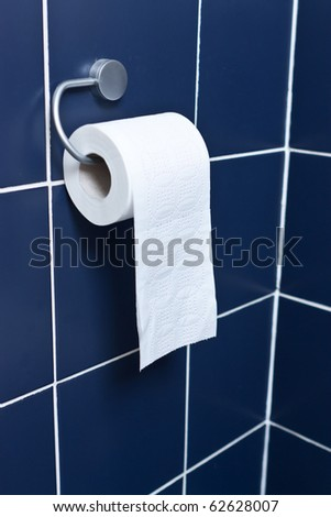 Toilet paper roll hanging with blue tiles