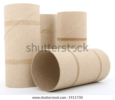 Toilet paper rolls isolated on over white