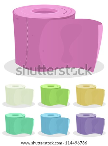 Toilet Paper Set/ Illustration of a set of colored cartoon toilet paper for hygiene
