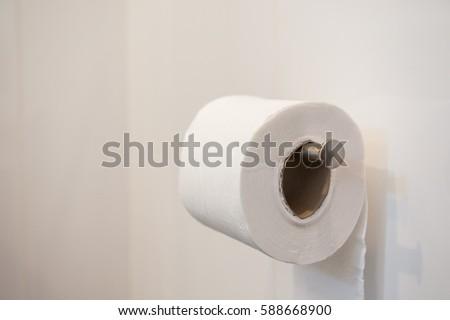 Toilet paper, Toilet Roll, Toilet paper in toilet.   #588668900