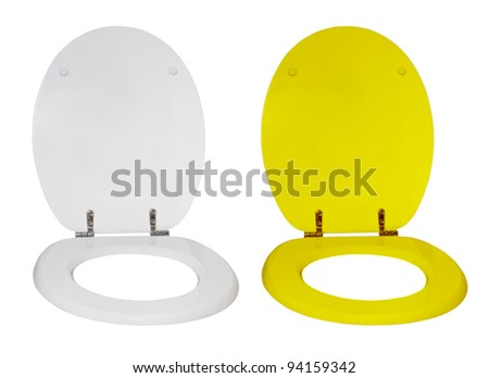 Toilet seat for a toilet bowl isolated on a white background - stock photo