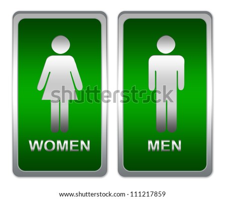 Toilet Sign With Green Metallic Style Plate Separated For Men and Women Isolated on White Background
