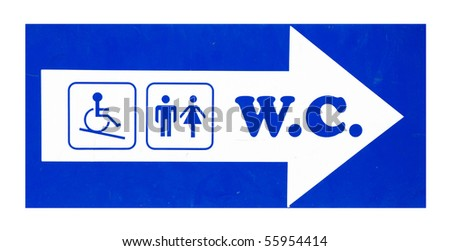 Toilet sign with male, female and disabled person silhouettes, isolated on white