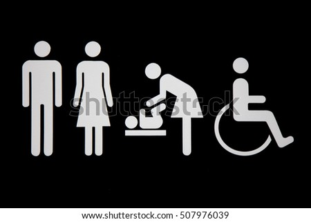 Toilet Signs For Public Wc Man Woman Baby Change And Disabled 507976039