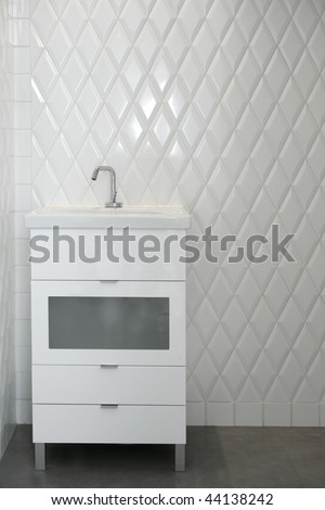 toilet sink in a white room diamond shape tiles modern vintage bathroom