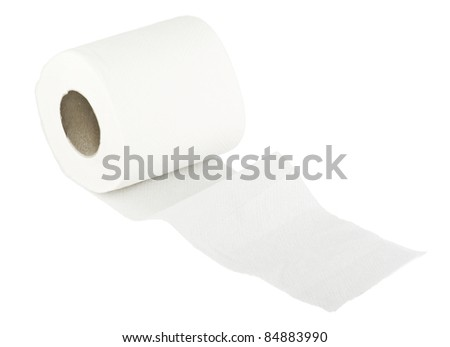 Toilet wc paper roll on white