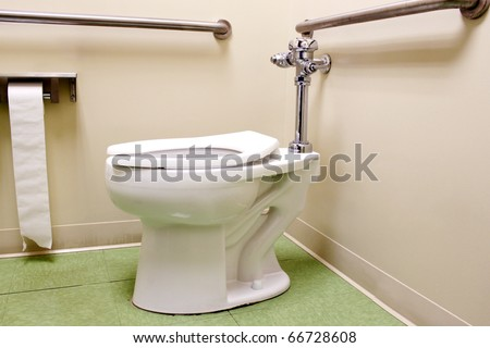 Toilet with rails for handicapped