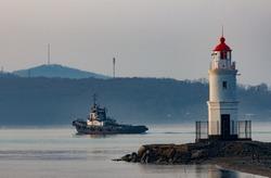 Tokarevsky lighthouse in Vladivostok in the fog