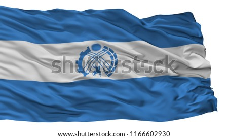 Tokmak City Flag, Country Kyrgyzstan, Isolated On White Background, 3D Rendering Stok fotoğraf ©