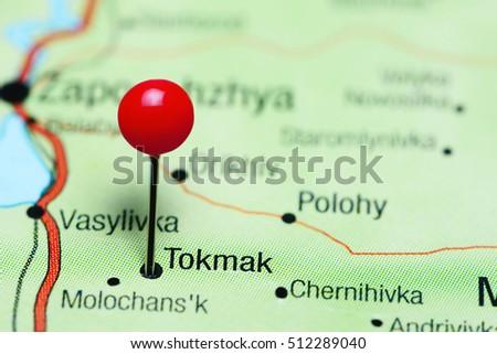 Tokmak pinned on a map of Ukraine  Stok fotoğraf ©