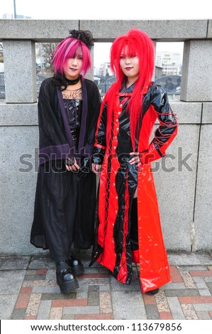 "TOKYO - APRIL 1 2012: Japanese girls in cosplay outfit gather around Harajuku train station in Tokyo on April 1 2012. ""Cosplay"" is a trend for dressing like characters from comic."