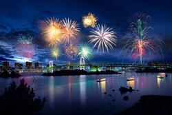 Tokyo bay city view and tokyo rainbow bridge with beautiful fireworks