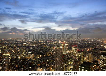 Tokyo by night from above