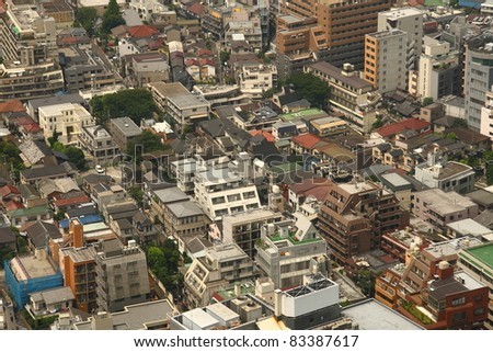 Tokyo city (aerial view at relatively small buildings)