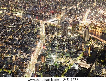 Tokyo city sky view at night