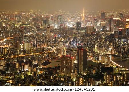 Tokyo city sky view at night