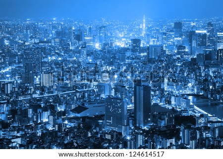 Tokyo city sky view at night in blue tone