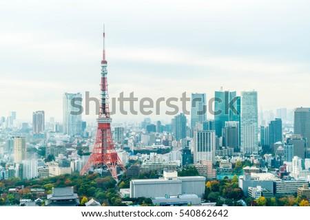 Tokyo city skyline at dusk, Tokyo Japan
