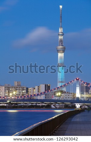 TOKYO - JAN 26 : View of Tokyo Sky Tree (634m) at night, the highest free-standing structure in Japan and 2nd in the world with over 10million visitors each year, on Jan 26, 2013 in Tokyo, Japan.