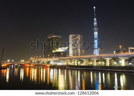 TOKYO - JAN 17: View of Tokyo Sky Tree (634m) at night, the highest free-standing structure in Japan and 2nd in the world with over 10million visitors each year, on January 17, 2013 in Tokyo, Japan