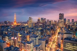 Tokyo, Japan. Aerial cityscape image of Tokyo, Japan during sunset.