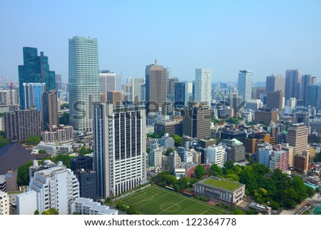 Tokyo, Japan - aerial view of Roppongi district. Modern city skyline.