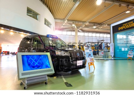 Tokyo, Japan - April 20 2018: New model of Japanese Taxi called JPN Taxi at Toyota Mega Web prepares for Olympic 2020 tourism boom with accessible cabs and international drivers #1182931936