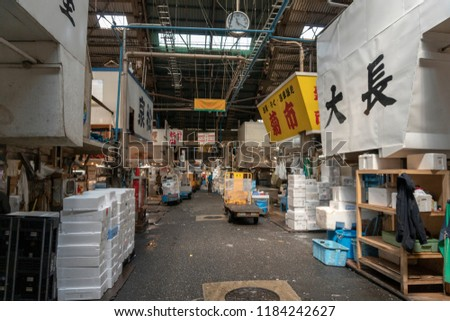 Tokyo, Japan - CIRCA 2018: Tsukiji fish market is the largest wholesale fish and seafood market in the world, handling over 2,000 tons of marine products per day. #1184242627