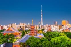 Tokyo, Japan city skyline over Asakusa at twilight.