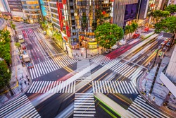 Tokyo, Japan cityscape and crosstown traffic in the Ginza District.