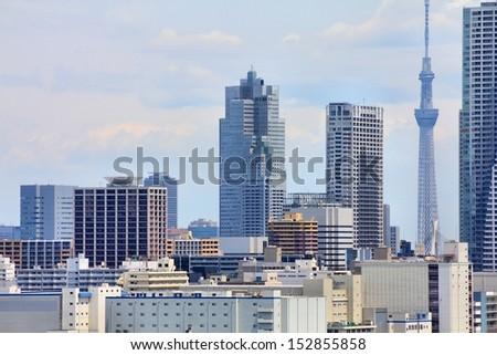 Tokyo, Japan - cityscape of Chuo district. Modern city skyline.