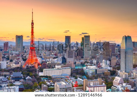 Tokyo, Japan cityscape panorama and tower at sunset with Mt. Fuji peaking over the horizon in the distance.