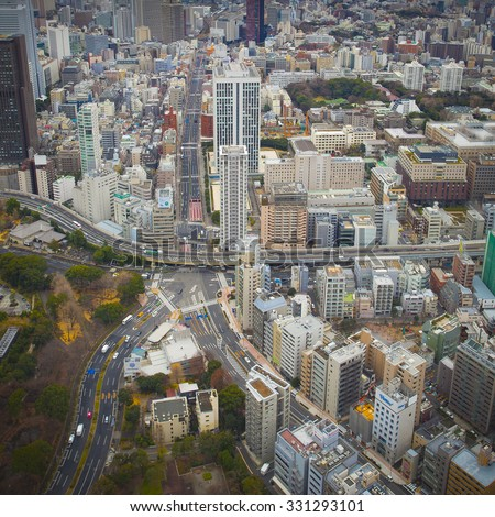 TOKYO, JAPAN, DECEMBER 31: Aerial view of Tokyo Skyline from the Tokyo Tower with Tilt shift light effect. Japan 2012