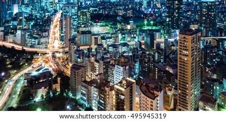 Tokyo, Japan - February 9th, 2016 : Tokyo night view from Tokyo tower. Tokyo Tower is the world's tallest, self-supported steel tower in Tokyo, Japan #495945319