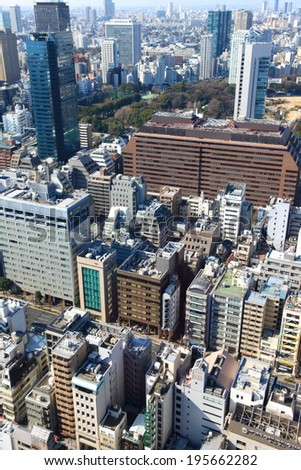 Tokyo, Japan -January 30, 2013:Aerial view at hi-rise buildings in Minato, Tokyo,Japan on January 30, 2013.This district is well known as the business district.