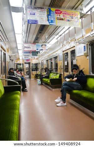 TOKYO, JAPAN - JANUARY 15: Interior of Oedo Line on January 15, 2013 in Tokyo, Japan. The line is Tokyo\'s first linear motor metro line.