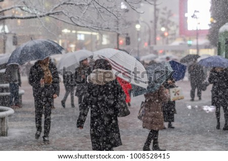 TOKYO, JAPAN - JANUARY 22ND, 2018. Pedestrian in Shibuya during a rare heavy snow storm in Tokyo. #1008528415