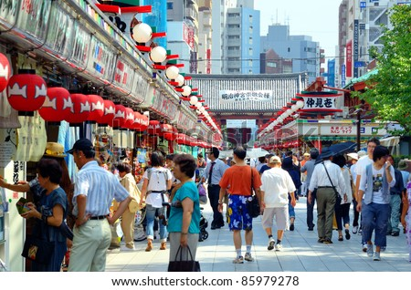 TOKYO, JAPAN - JULY 6: Arcade at Senso-ji, the symbol of Asakusa and one of the most famed temples in all of Japan attracting thousands of tourists daily on July 6, 2011 in Tokyo, Japan.
