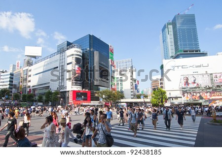 TOKYO, JAPAN - JULY 9: Shibuya crossing is one of the most famed examples of a scramble crosswalk in the world on July 9, 2011 in Tokyo, Japan.